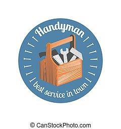 reparación, vector, icono, hogar, insignia, remodelar, logotipo
