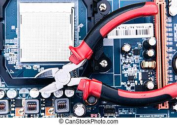 reparación, y, mantenimiento, de, computadora