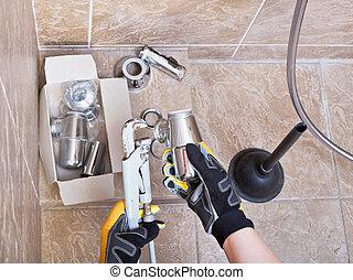 reparaciones, cuarto de baño, trampa, plomero, fregadero