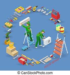 reparaciones, isométrico, service., concept., aire...