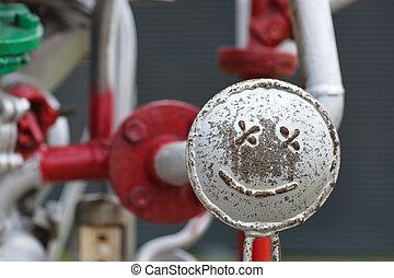 reparaciones, tubos, cara sonriente, concept., construction., feliz