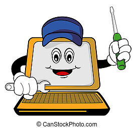 reparado, computador, caricatura