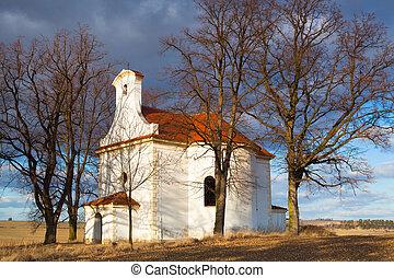 reparado, pequeño, iglesia, en, un, colina, en, neprobylice