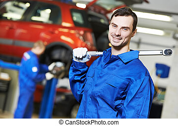 reparador, mecánico auto, en el trabajo