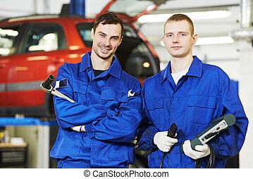 reparador, mecánico auto, trabajadores