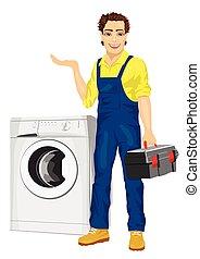reparador, tenencia, un, caja de herramientas, y, posar, al lado de, un, lavadora, actuación, algo