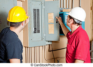 reparadores, eléctrico, examinar, panel