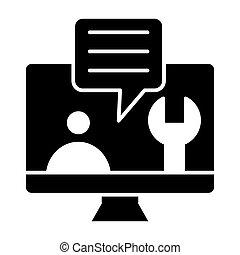 reparar, ajuda, computador, desenho, glyph, teia, estilo, monitor, serviço, app., apoio, isolado, tela, 10., símbolo, ilustração, projetado, técnico, eps, sólido, vetorial, tech, icon., white.