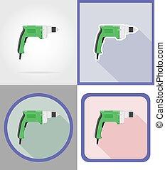 reparar, apartamento, elétrico, ícones, ilustração, vetorial, broca, construção, ferramentas