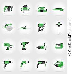 reparar, apartamento, elétrico, ícones, ilustração, vetorial, construção, ferramentas