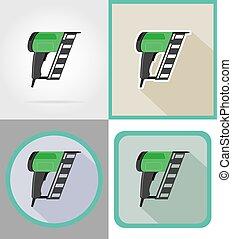 reparar, apartamento, elétrico, ícones, ilustração, vetorial, construção, ferramentas, nailer