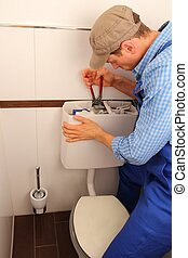 reparar, banheiro, jovem, artesão