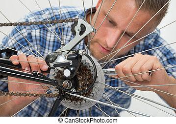 reparar, bicicleta, homem