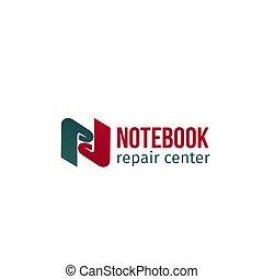 reparar, caderno, emblema, centro