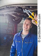 reparar, car, macho, mecânico, feliz