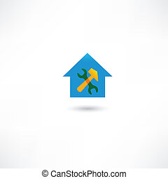 reparar, casa azul, ícone