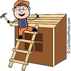 reparar, casa, -, carpinteiro, ilustração, vetorial, retro, trabalhador, caricatura