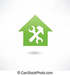 reparar, casa, verde, ícone