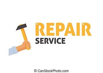 reparar, centro, manutenção, Serviço,  Repairman, mão, vetorial, segurando, logotipo, martelo