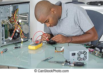 reparar, computador, homem