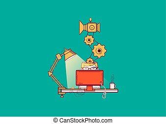 reparar, computador, work., execute, ilustração, vetorial, local trabalho, programmer.