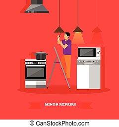 reparar, conceito, illustration., aquilo, você mesmo, lâmpada, vetorial, mudança, cozinha lar, bulbo, homem