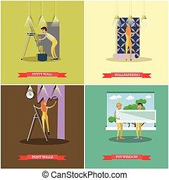reparar, conceito, jogo, casa, vetorial, construção, cartazes