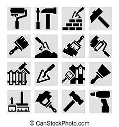 reparar, construção, ícones