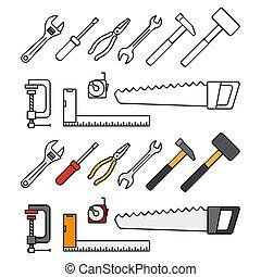 reparar, construção, ferramentas