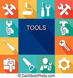 reparar, construção, ferramentas, trabalhando, ícone