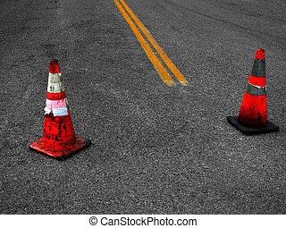 reparar, construção, rua, cones