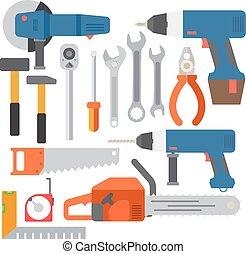 reparar, construção, vetorial, ferramentas, ícones