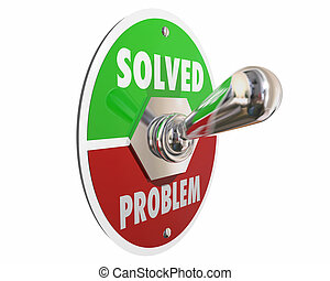 reparar, dificuldade, solução, ilustração, resolvido, interruptor, problema, 3d