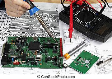 reparar, e, diagnóstico, de, circuito eletrônico, tábua