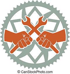 reparar, emblema, chaining