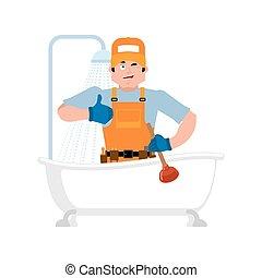 reparar, encanador, bathrooms., service., ilustração, banho, vetorial, manutenção