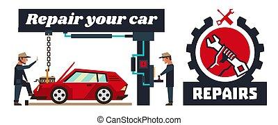 reparar, equipment., carro., especiais, wrench., modelo, capital, vermelho, segurando, automático, mão, motor., repairs., horizontais, removido, bandeira, illustration., car, vetorial, logotipo, mecânico, engine.