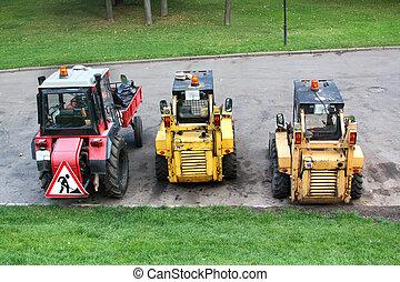 reparar, estrada, equipamento