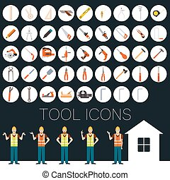 reparar, ferramenta, ícones