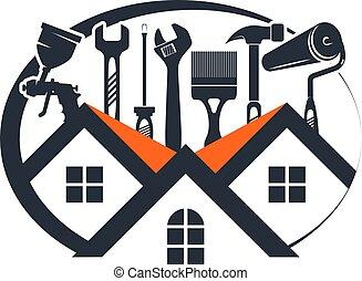 reparar, ferramenta, manutenção, casa