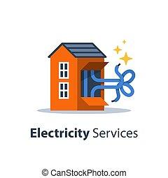 reparar, fios, electricidade, casa, nó, manutenção