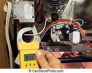 reparar, fornalha, aquecimento, manutenção