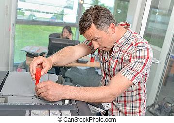reparar, fotocopiadora, homem