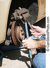 reparar, frente, disco, freios