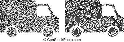 reparar, furgão, ícones, car, ferramentas, mosaico