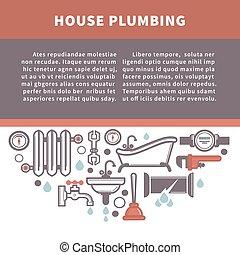 reparar, informação, illustration., serviço, casa, vetorial, tábua, encanamento