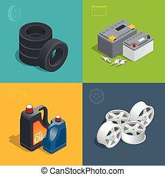 reparar, isometric, consumables, jogo, pneu, serviço, apartamento, car, ícones, isolado, automático, vetorial, 3d, illustration.