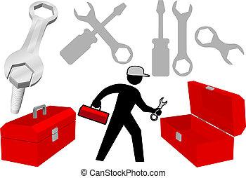 reparar, jogo, ícones, ferramenta, trabalho, pessoa, objetos