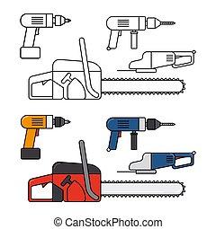 reparar, jogo, elétrico, ícones, jigsaw, -, vetorial, lar, broca, linha, ferramentas, chainsaw