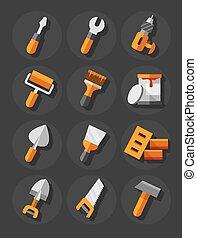 reparar, jogo, trabalhando, ícones, apartamento, construção, ferramentas